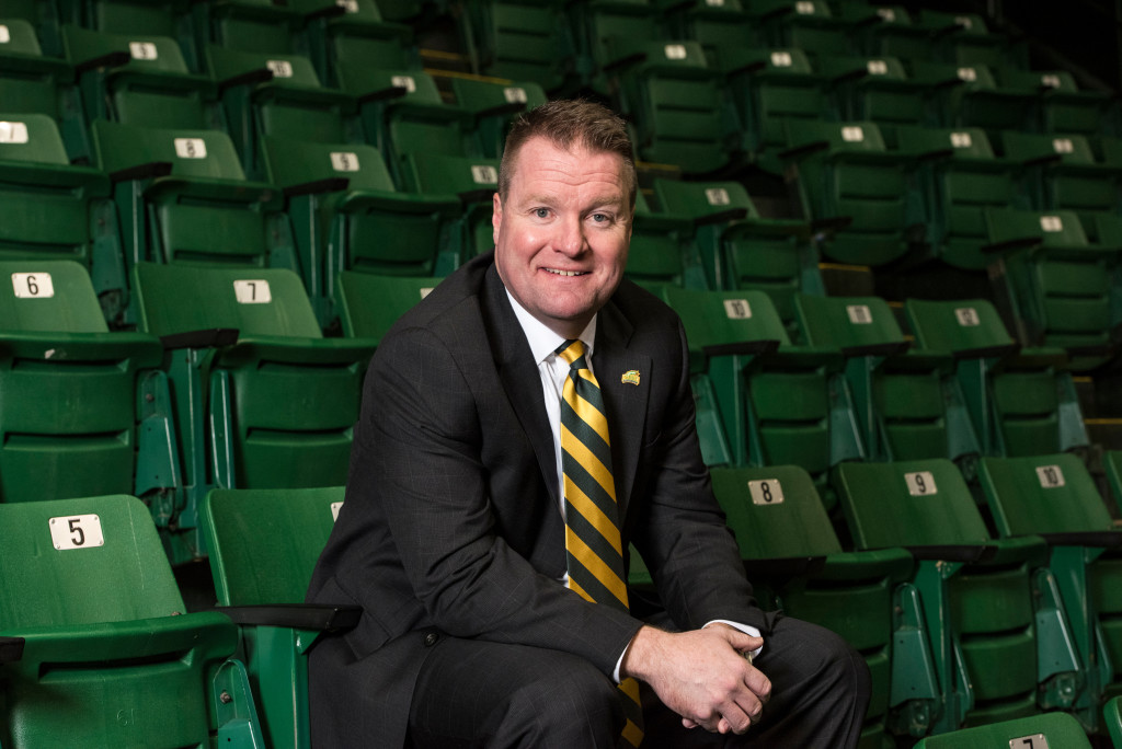 George Mason University announced today that three-time Patriot League Coach of the Year Dave Paulsen has been hired as the 10th men's basketball head coach in program history. Photo by Alexis Glenn/Creative Services/George Mason University